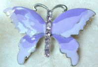 Large Purple , Lilac Enamel And Rhinestone Butterfly Brooch